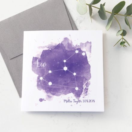 Personalised Leo Star Sign Card
